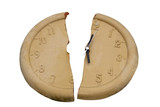 broken clock face with clipping path