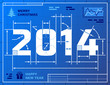 Card of New Year 2014 like blueprint drawing