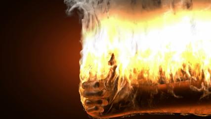 burning like hand. Alpha matted