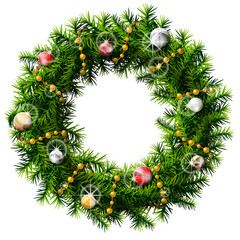Christmas wreath with decorative beads and balls  isolated