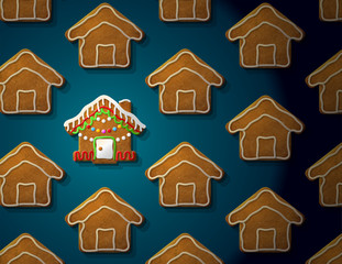 Gingerbreads in shape of christmas house with icing