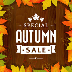 autumn special sale vintage  poster on wood background