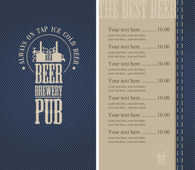 Menu for the pub in a retro style on denim