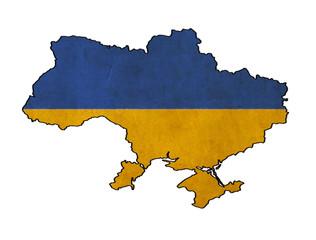 Ukraine map on Ukraine flag drawing