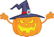 Scaring Halloween Pumpkin With A Witch Hat Cartoon Illustration