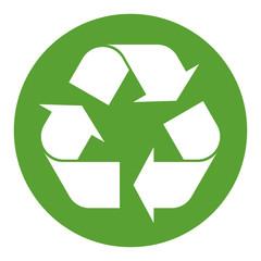 Recycling Zeichen weiß auf grün