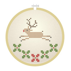 Vector embroidery hoop with Christmas deer