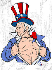 Uncle Sam Portrait - 4th of July Vector theme Design