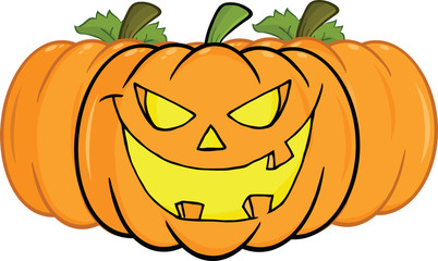 Smiling Halloween Pumpkin Cartoon Illustration