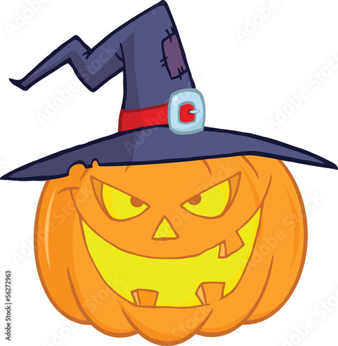 Evil Halloween Pumpkin With A Witch Hat Cartoon Illustration