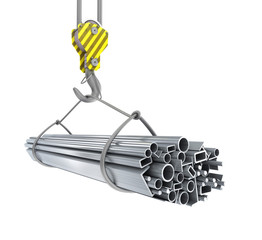 Crane hook with steel pipes 3D