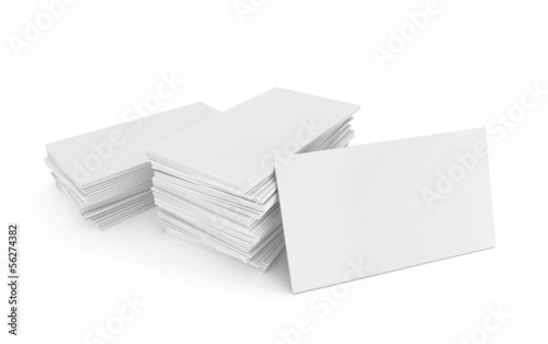 Blank business cards in stack, isolated on white