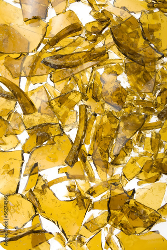 Close up of glass broken in many pieces.