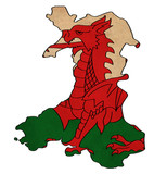 Wales map on Wales flag drawing