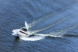 Luxury Power Boat Yacht on Blue Sea