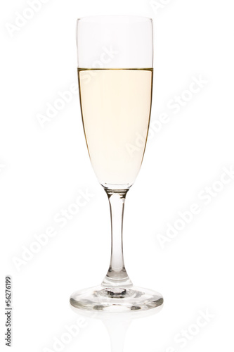Flute with white wine isolated on white.