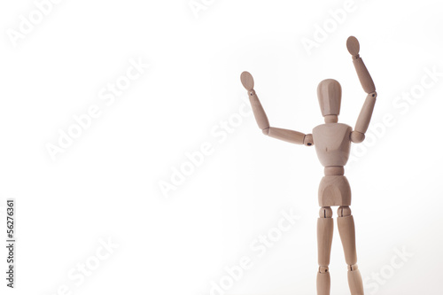 wooden manikin shows hands