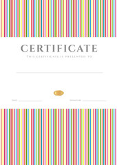 Certificate / Diploma template. Stripy colorful line pattern