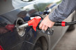 Driver inserting pumping nozzle with gasoline at the gas station