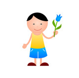 Boy with flower in hand