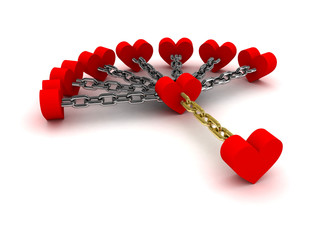 Seven hearts linked with one.  Dependence on past relations
