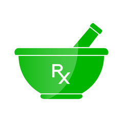 Pharmacy symbol - mortar and pestle in green color