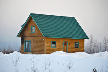 Constructed House with Snow