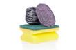 A Scouring Pad Sponge, a Steel Wool Soap Pad
