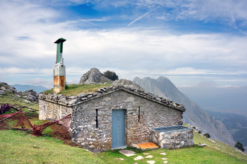 House on mountain range. Basque Country