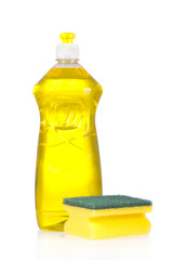 Liquid detergent bottle and scouring pad for dish washing