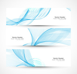 Abstract shiny header blue line wave whit vector illustration