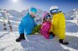 Winter, ski, skiers  - family enjoying ski holiday