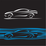 Car Silhouette. Car contour. Sports Car background.
