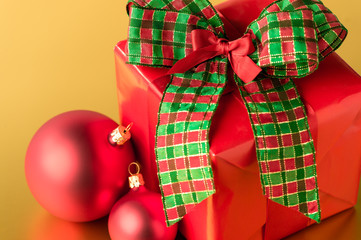 Red Christmas present and decoration gift card