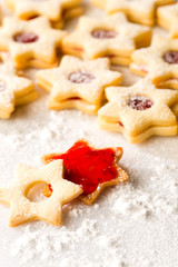 Gingerbread christmas cookie star powdered sugar