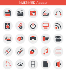 Icons about multimedia