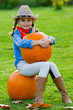 Harvest of pumpkins - girl and large pumpkins