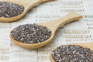 three wooden spoons with black chia seeds