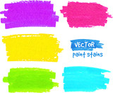 Colorful rainbow paintbrush vector strokes