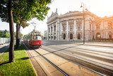 Famous Ringstrasse with Burgtheater and tram in Vienna, Austria