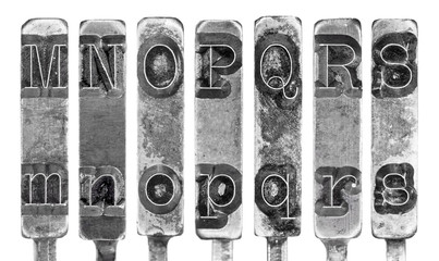 Old Typewriter Typebar Letters M to S Isolated on White