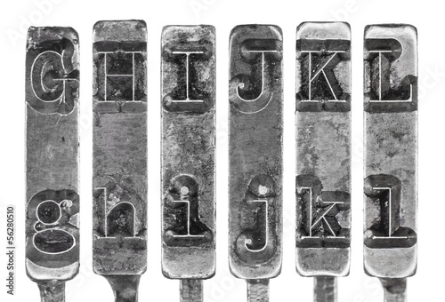 Foto op Plexiglas Retro Old Typewriter Typebar Letters G to L Isolated on White