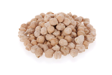 White chickpeas isolated on a white background