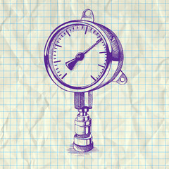 Sketch illustration of a manometer