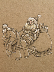 Sketch hand draw Santa in sleigh