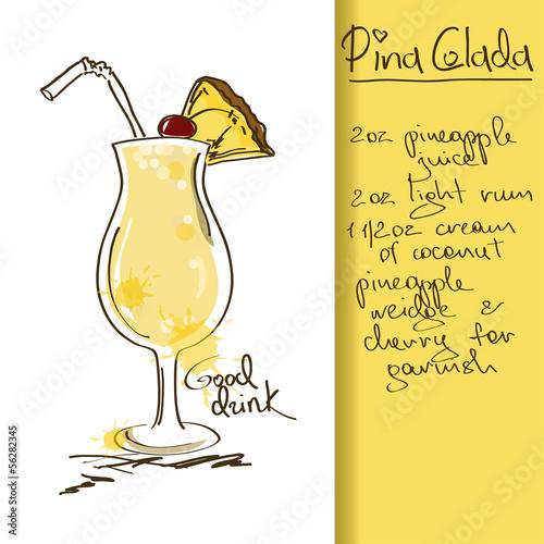 Fototapeta Illustration with Pina Colada cocktail