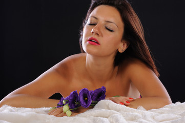 Beautiful woman in relax with flowers