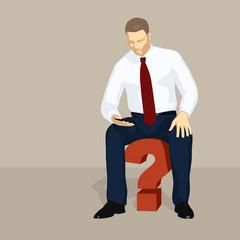 Geschäftsman mit Fragezeichen, Probleme, Herausforderung