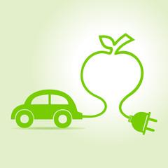 Eco car make a apple icon vector illustration