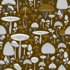 Mushrooms seamless pattern - vector illustration